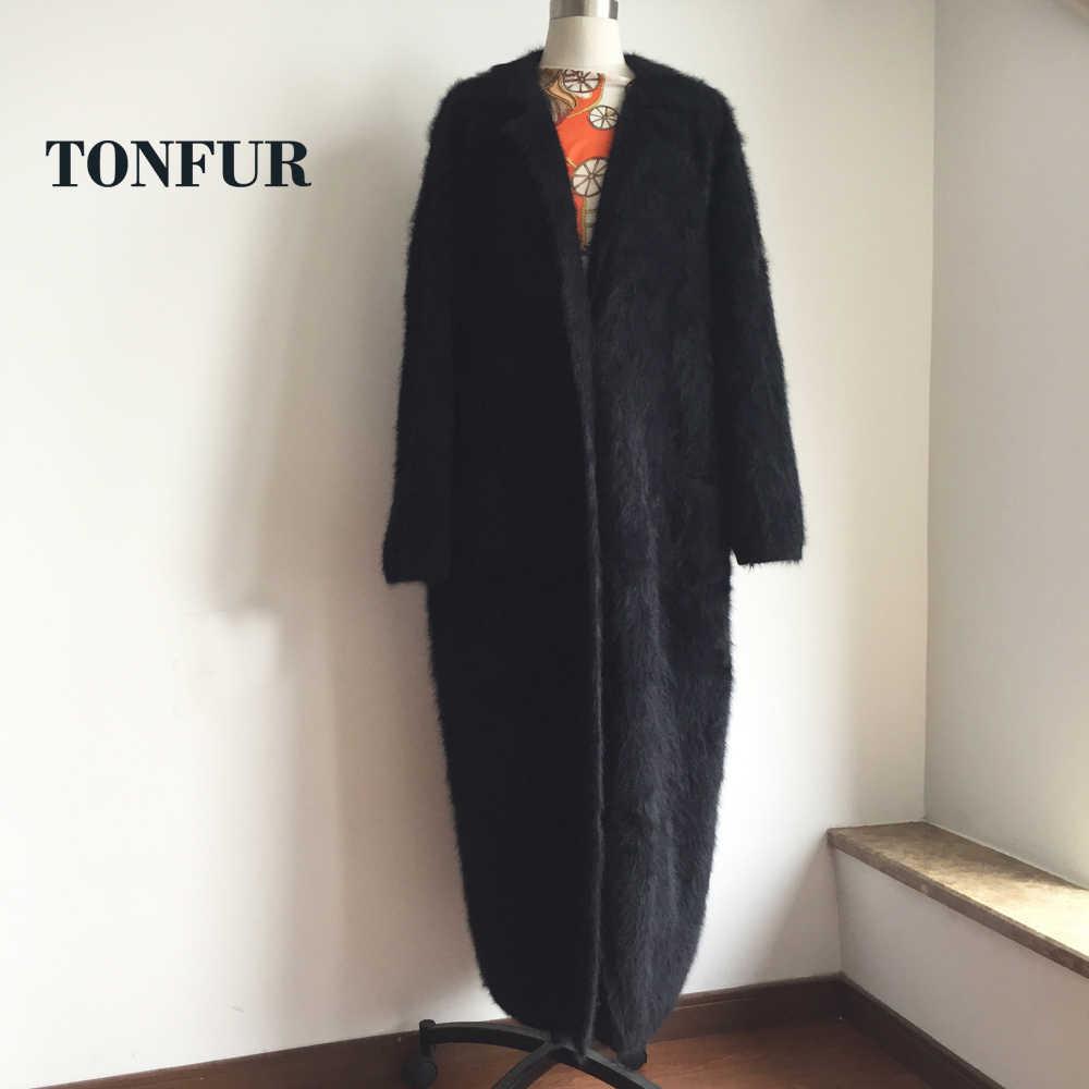 Tricoté véritable vison cachemire X Long manteau mode réel vison cachemire longue fourrure veste dame chandail vison lourd Cardigans FP968