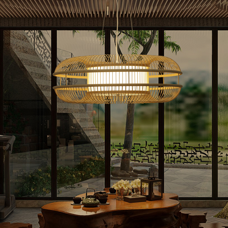 Chinese/Japanese style led pendant lights bamboo lantern pendant lighting wood modern hanging lamp living room teahoue E27 base