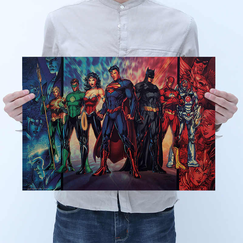 DC Justice League Batman Superman Wonder Woman Flash Aquaman Figuren Vintage Kraft Papier Poster für Cafe Bar Home Decor Party