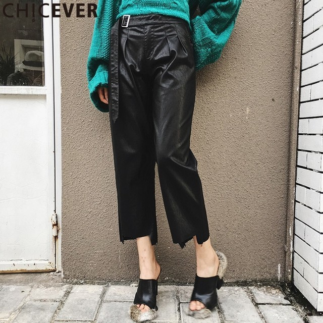 CHICEVER PU Leather Wide Leg Palazzo Pants Women Belt Large Big Size Ankle Length Pant Female Black Loose Trouser Irregular Tide