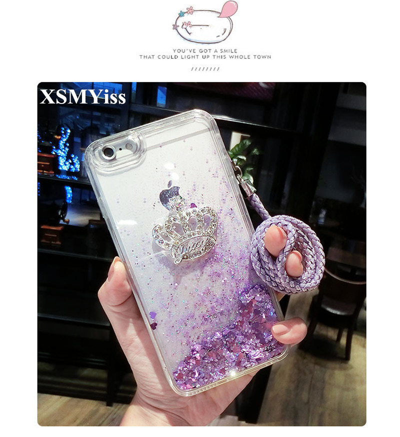 Lovely Xsmyiss For Samsungs6 S7 Dynamic Liquid Glitter Sand Soft Silicone Phone Case For Samsungs8 S9 Plus N4 5 8rhinestone Case Chain Preventing Hairs From Graying And Helpful To Retain Complexion Phone Bags & Cases