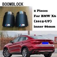 BOOMBLOCK 2PCS Car Auto Accessories For BMW E90 E92 X5 E70 X6 E71 X1 F48 M Performance Logo Carbon Fiber Tips Car Exhaust Pipe
