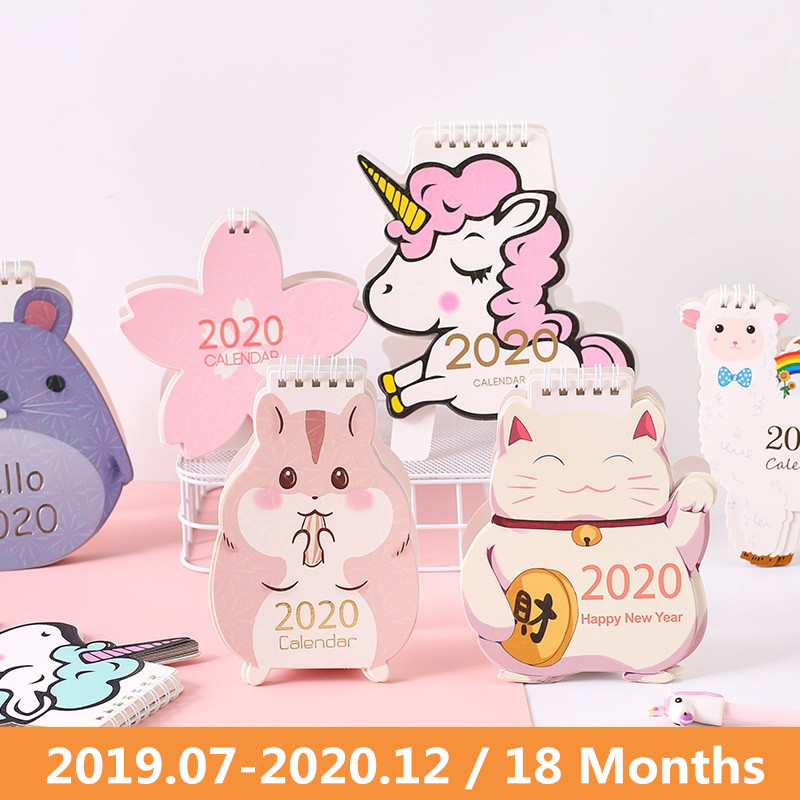 2020 Cute Unicorn Cat Animals Laser Desk Calendar Cherry Blossom Calendar Daily Schedule Planner 2019.07-2020.12