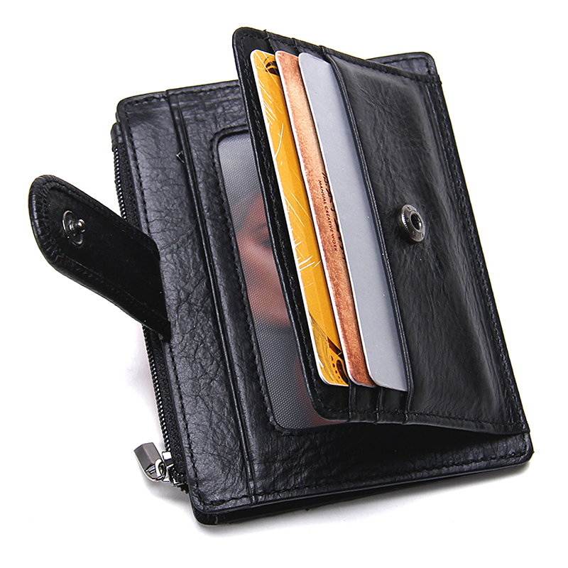 Thin Genuine Cow Leather Mens Wallet Small Casual Card Holder Coin Pocket Mini Purse Bags Quality Wallets Carteira Free Shipping baellerry small mens wallets vintage dull polish short dollar price male cards purse mini leather men wallet carteira masculina