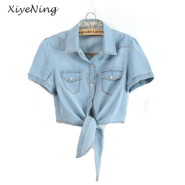 405b727701e S-3XL Plus Size Denim Blouse Women Short Sleeve Tie Bow Tops Jeans Shirts  Female Summer Sexy BF Streetwear Denim Drop Shipping