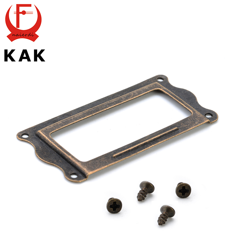 KAK Antique Brass Handle 64*32mm Label Pull Frame File Name Card Holder Cabinet Drawer Box Case Knobs For Furniture Hardware