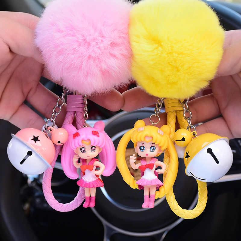 Bonito Dos Desenhos Animados Sailor Moon Anime Chaveiros Fofo Saco Sinos Corda de Couro Da Corrente Chave Chaveiro Chaveiro Pompom Pele Pom Pom Portachiavi