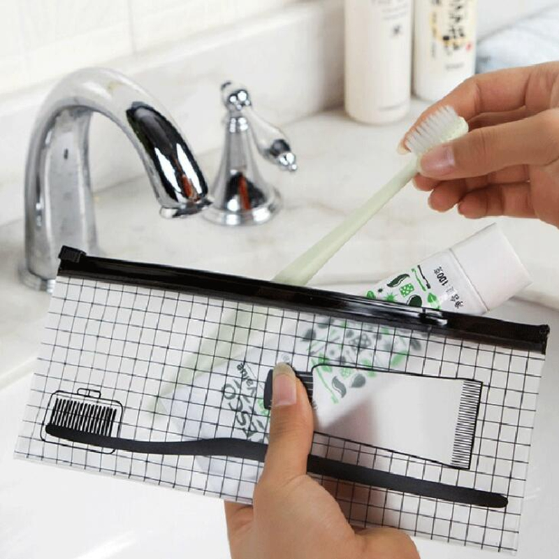 Transparent Toothbrush Cosmetic Bag Women Travel Makeup Bag Small Make Up Organizer Storage Pouch Toiletry Beauty Wash Kit Case