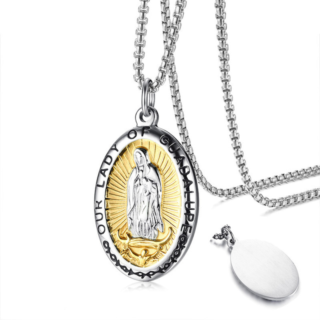 db88fc64464 Our Lady of Guadalupe Virgin Mary Pendant Necklace in Stainless Steel Medal  for Men Women Jewelry Gift 24 inch