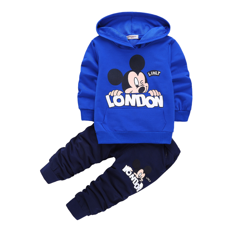 casual kids sport suits spring Baby Clothing Sets Children Boys Girls Clothes Kids Mickey Hooded T-shirt And Pants 2 Pcs Suits цена 2017