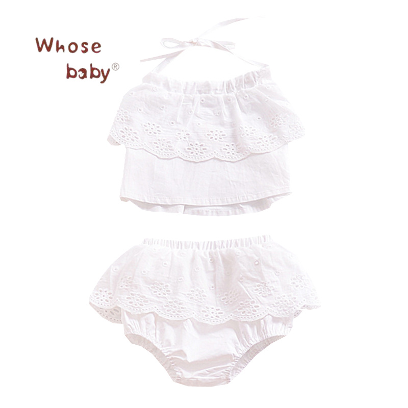 2pcs Infant Baby Set Girl clothing Outfits 2018 Summer Girls Set Lace Halter Crop Tops+ Panties Clothing Set Kids Baby Clothes 2pcs children outfit clothes kids baby girl off shoulder cotton ruffled sleeve tops striped t shirt blue denim jeans sunsuit set