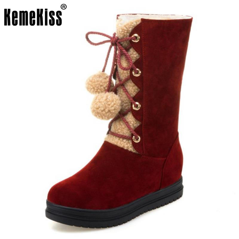 KemeKiss Size 34-43 Women Thick Fur Inside Cold Winter Snow Boots Women Pompon Cross Tied Thick Platform Shoes Women Warm Botas kemekiss women warm plush warm snow boots for women thick platform ankle botas female thick fur winter footwear size 36 40