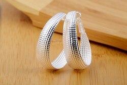 LJ ve OMR Gümüş Takı Oval Yuvarlak Çember Örgü Küpe Gümüş Kaplama Küpe Kadınlar için Moda Gelin Takı Klasik Nausnice