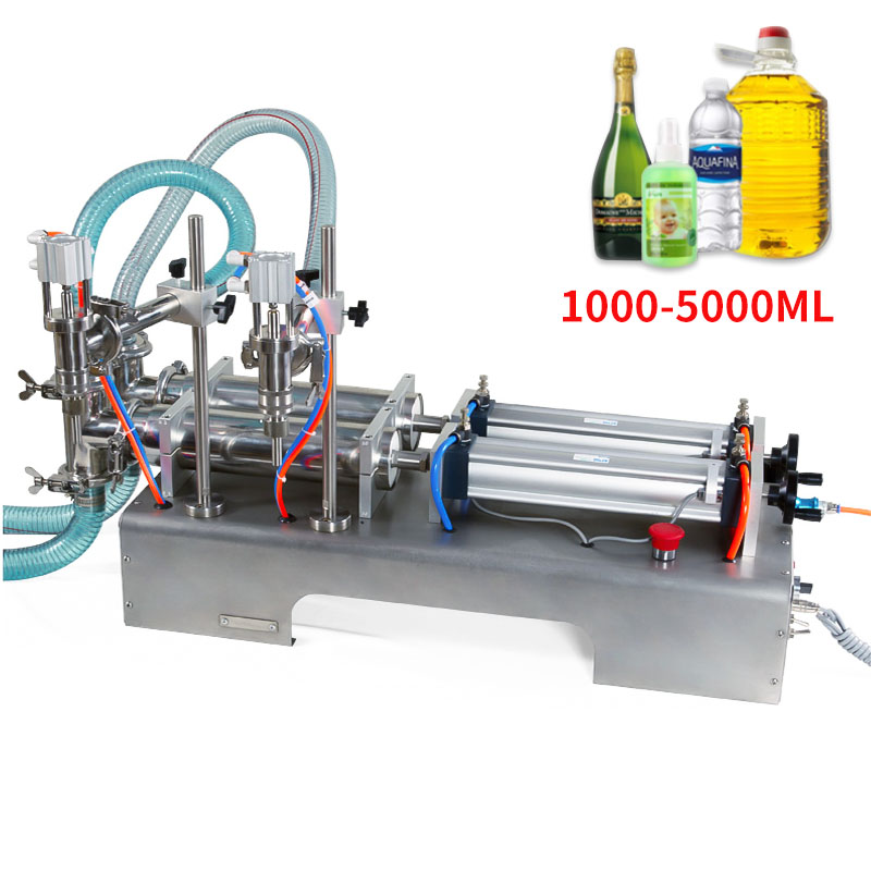 1000-5000ML Electric Pneumatic Double Head Liquid Filling Machine Shampoo Gel Water Wine Milk Coffee Beverage Filling Machine