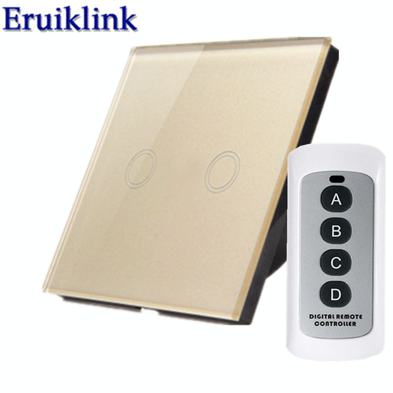 EU Standard Wireless Remote Control Light Switch, 1/2/3 Gang 1 Way Gold Glass Panel Wall Touch Switch for RF433 Smart Home 2 gang 2 way wall light switch wireless remote control touch switch power for light crystal glass panel wall switch diy kit h3