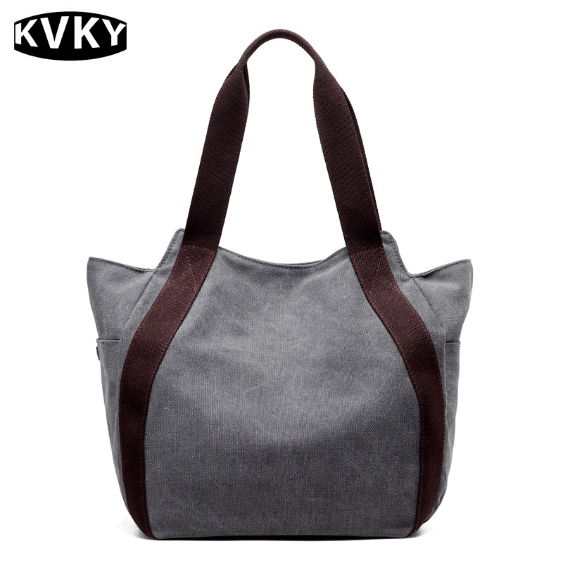 KVKY Vintage Canvas Women Handbag Casual Bucket Tote Bag High Quality Large Capacity Women Shoulder Bag Travel Beach Bag bolsos big canvas handbag brand high quality large capacity shoulder bag 100% cotton leisure and travel bag for women contracted joker