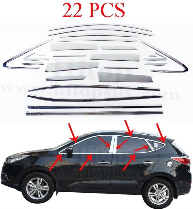 new arrival window frame/cover/trim for Hyundai IX35,up+down+A pillar+B pillar+C pillar,total 22pcs,for 2010 - 2017 stainless steel full window with center pillar decoration trim car accessories for hyundai ix35 2013 2014 2015 24