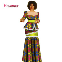 Hitarget 2019 New African Wax Print Clothes for Women Dashiki Traditional Cotton Top Skirt Set of 2 Piece Dashiki Dress WY2936