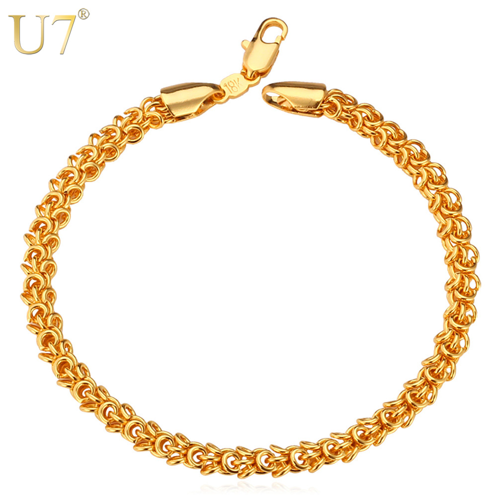 U7 Trendy Gold Color Fashion Men Jewelry Wholesale Unique Round 21 cm Chain & Link Bracelet Men H514