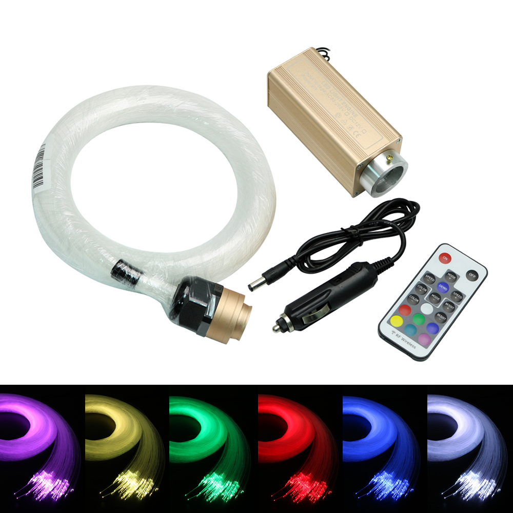 DC12V LED fiber optic Star Ceiling Kit light + 9W RGB 18key Remote Control for Car Decoration car use 6w rgb fiber optic star ceiling light kit 1 0mm 120pcs 2m 18key rf optical fiber light engines