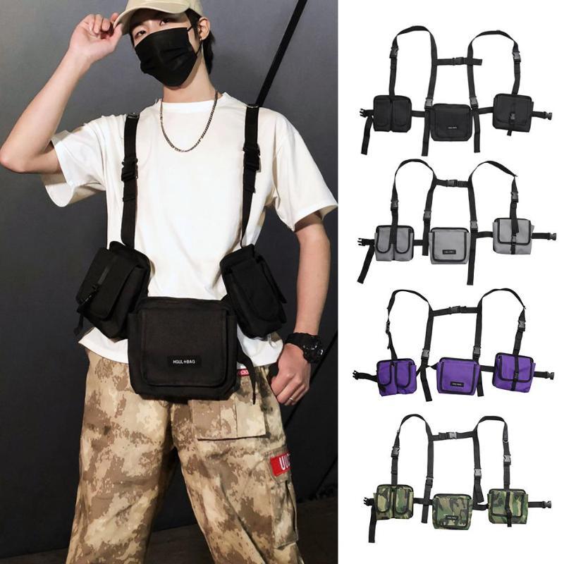 2019 Fashion Hip Hop Streetwear Men Tactical Chest Rig Multi-pockets Waistcoat Chest Bag Vest Functional Waist Packs Bag Kanye