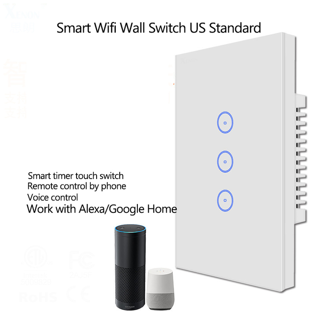米国/AU Wifi 3 ギャングワイヤレスリモコンウォールライトスイッチタッチスクリーン AC110V 240 ボルトスマートホーム互換性 alexa と google ホーム