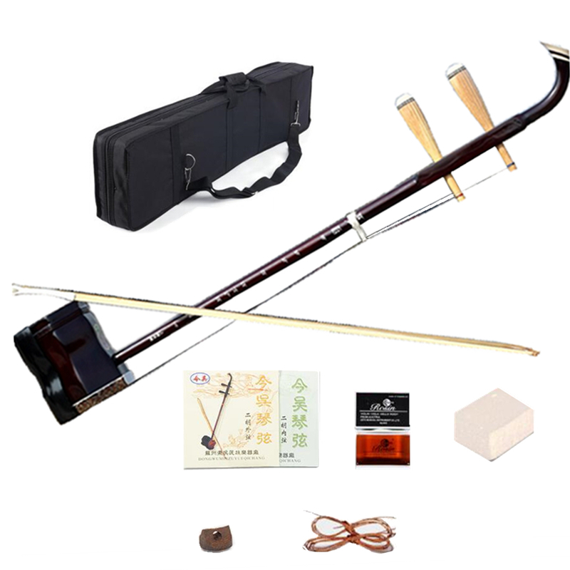 Chinese Erhu 01AS Two strings violin fiddle Exclusive Engraved Code Musical Stringed Instruments with Rosin bow and book Case