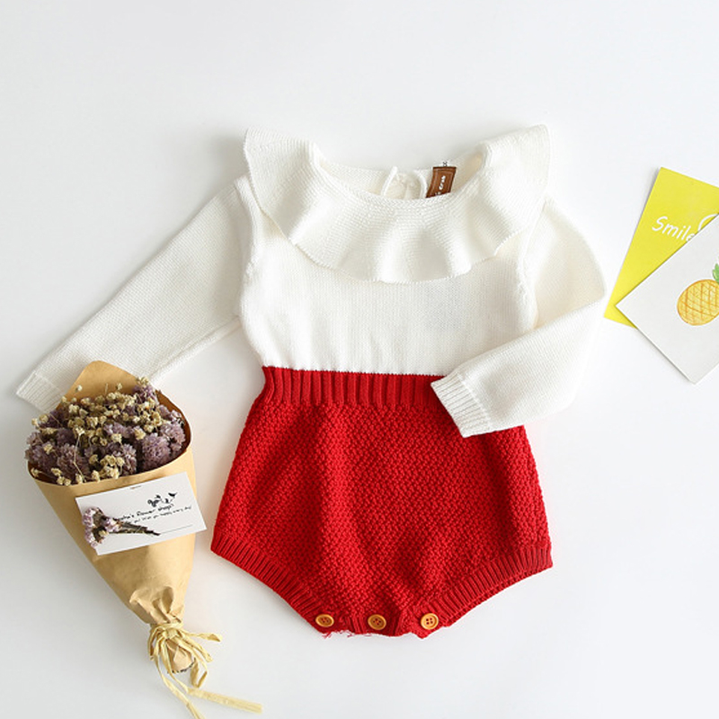2019 Spring Autumn Cute Newborn Baby Girl Long-sleeved Knitting Stitching Romper Jumpsuit Outfits Clothes Fashion Baby Rompers