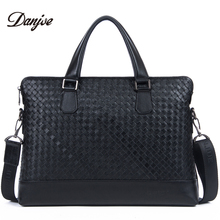 DANJUE Men Handbags Genuine Leather Male Briefcase Trendy Black Laptop Tote Weave Pattern 14inch Computer Bag Man Soft Leather