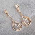 Blucome Micro pave Zircon Copper Dangle Earrings Rhinestones White Water Drop Long Earrings Women Boucle D'oreille Femme Aretes