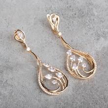 Micro pave rodio plateado water drop cuelga los pendientes de circón blanco pendientes largos para las mujeres boucle d'oreille femme amor aretes
