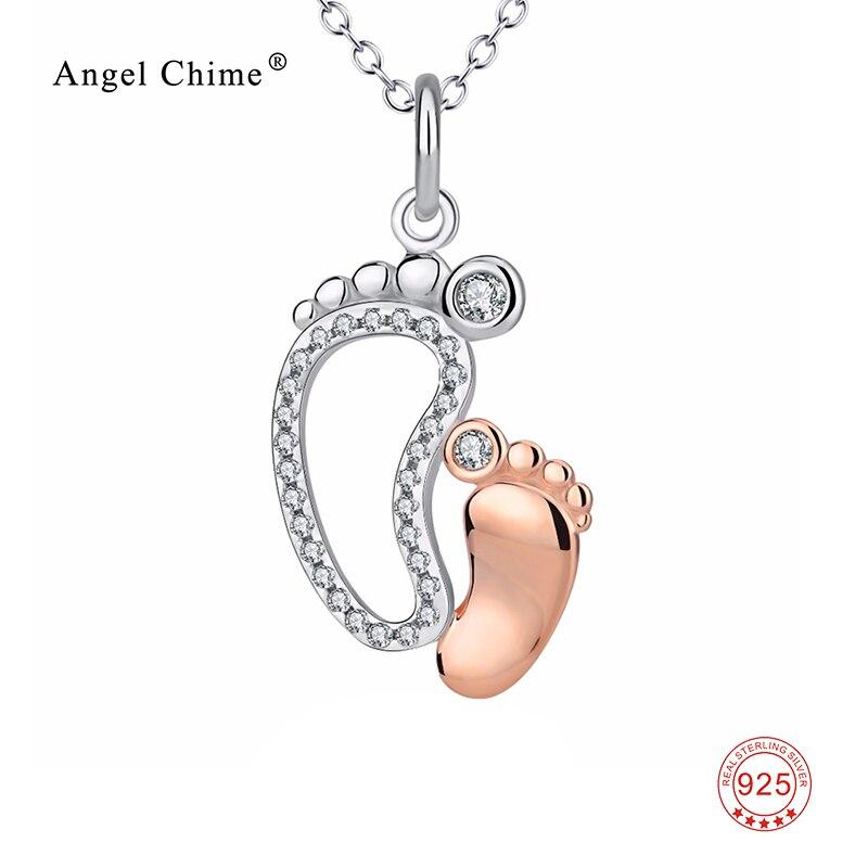 925 Sterling Silber CZ Strass Mutter Baby Fuß Anhänger Halsketten Für Frauen Modeschmuck Muttertag Geschenke