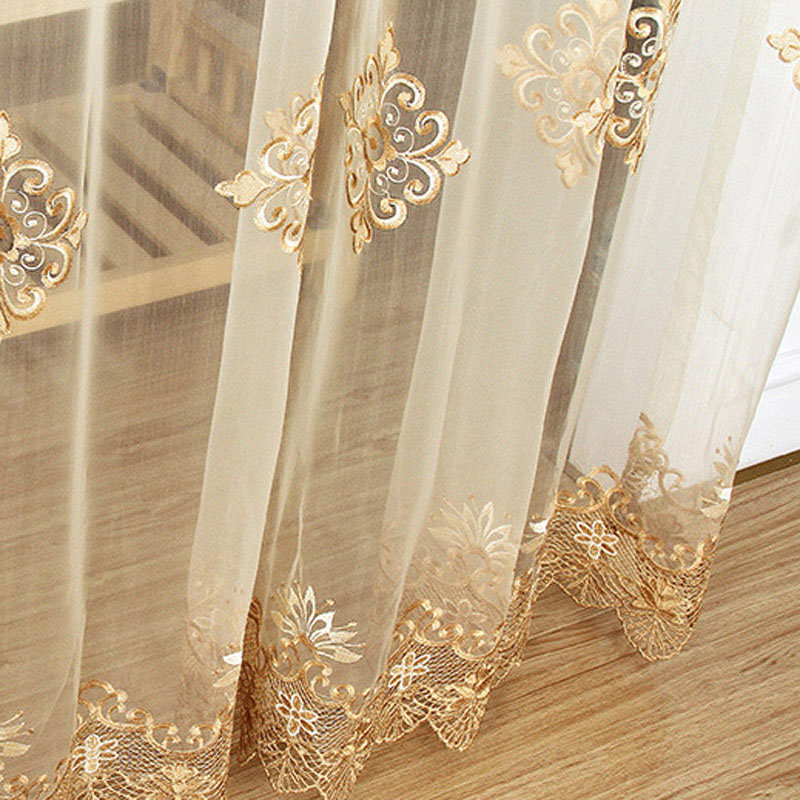 Luxury Embroidered Sheer Voile Curtains Window Drapes Cortina for Living Room Door Gold Lace Curtains Tulle Windows(China)