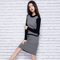 Women 's Cashmere Suit Autumn Winter Thick Fitness 2 piece Skirt Set Women complet sets Two Pcs Plaid Knit Skirt Suits Big Size