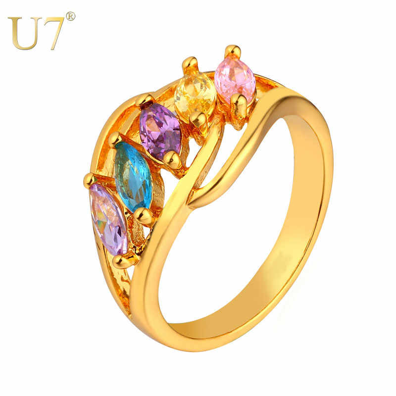 U7 Hot Sale Brand Beautiful Crystal Rings For Women Gold/Silver Color Multicolour Ring Party Wholesale R436