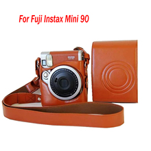 high quality PULeather Case Cover Pouch Protector For Fuji Instax Mini 90 Camera Bag Polaroid Photo Camera case With Strap