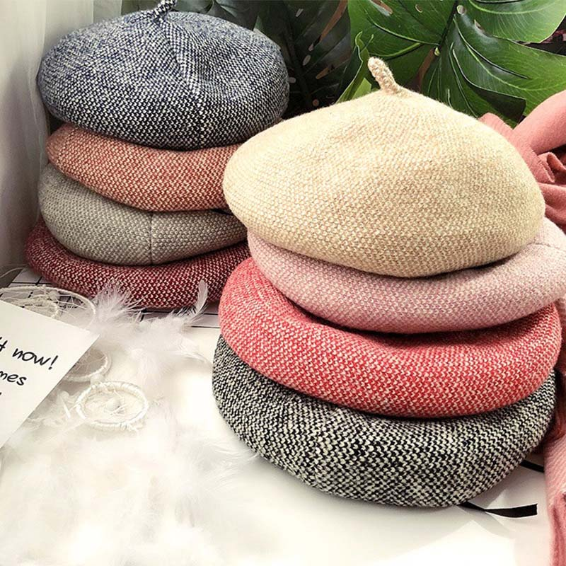 9d293674d US $8.9 |Fashion Wool Beret Female Winter Hats For Women Flat Cap Knit  multicolor Hats Lady Girl Berets Hat Female Painter Hat-in Women's Berets  from ...