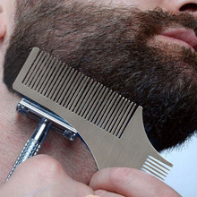 Professional Design DIY Beard Shaping Comb Tool Stainless Steel Model Carding