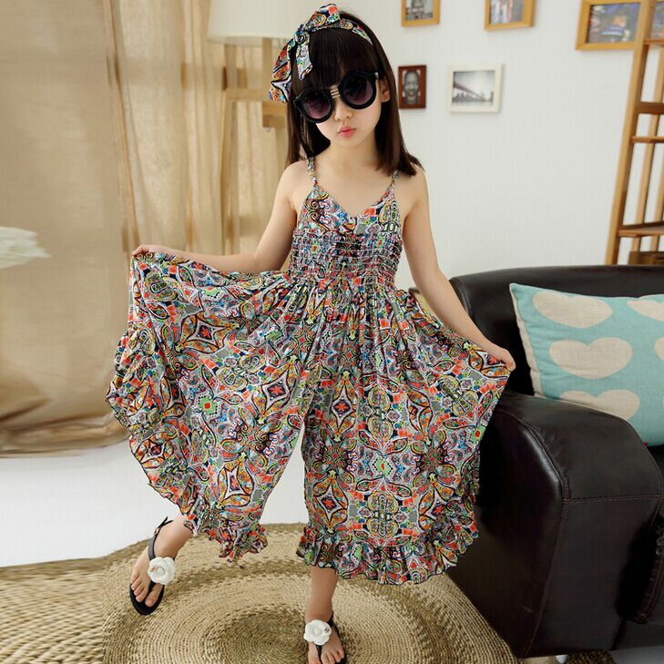 Girls Fashion Clothes: Floral Bohemian Beach Dress With Hair Band Kids Dresses