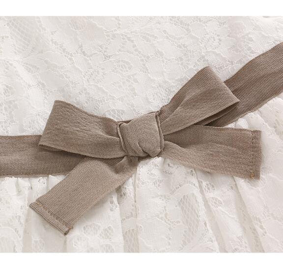 Baby 1st Birthday Dress Koronkowa księżniczka Party Białe sukienki - Odzież dla niemowląt - Zdjęcie 3