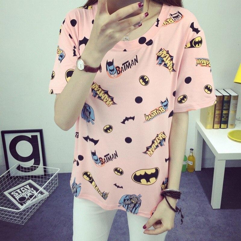 Dandeqi 2018 Summer Women Tops Cartoon Batman Print Tshirts Girls Fashion Harajuku   T     shirt   Camisetas Femininas Tee   Shirt