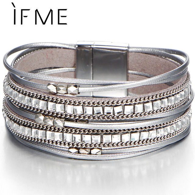 IF ME Trendy Crystal Multiple Layers Leather Bracelets & Bangles for Women Silver Color Charm Beads Bracelet Party 2018 New Gift