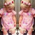 Borlas de Impressão Floral rosa Meninas Romper Do Bebê Verão de Manga Curta Roupas macacão 0-24 M