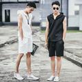 Men's summer 2 pieces tank+pant fashion leisure space cotton sleeveless tees tops hooded tracksuits slim men tank vest K933