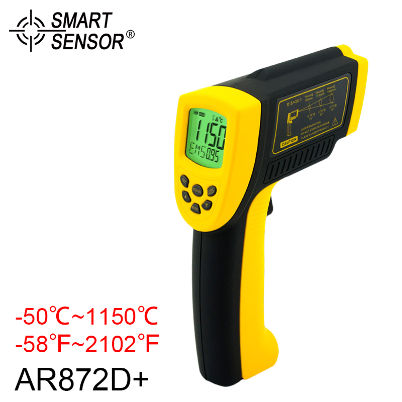 Non Contact Infrared Thermometer -50~1150C/-58~2102F AR872D+ Digital Infrared Thermometer Gauge Industrial Handheld Pyrometer