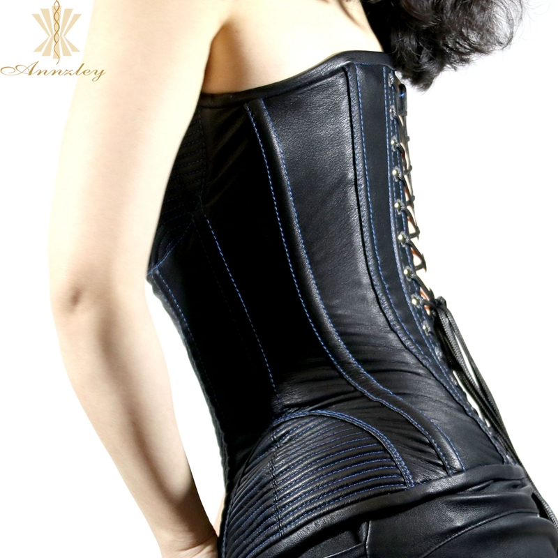 115b19053cd ... Annzley Top Quality Side Zipper Genuine Leather Steel Boned Overbust  Corset (6) ...