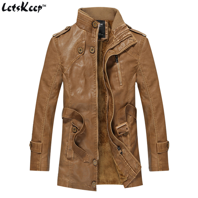 Letskeep New 2016 Winter brown PU Leather jacket men Thick moto punk long Jackets coat Mens vintage harley fleece Overcoat,MA246