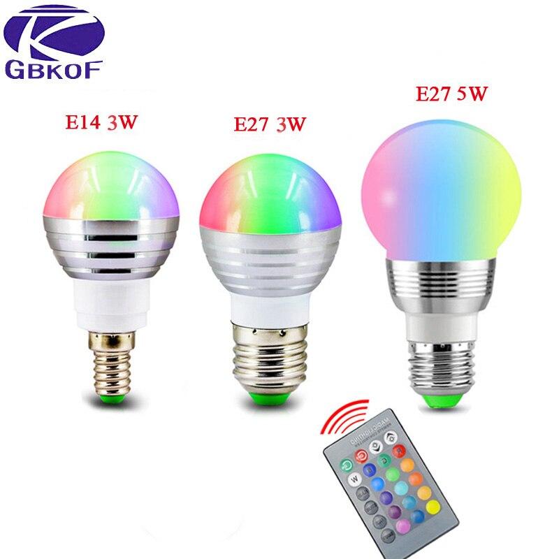 GBKOF E27 E14 LED 16 Color Changing RGB Magic Light Bulb Lamp 85-265V 110V 120V 220V RGB Led Light Spotlight + IR Remote Control