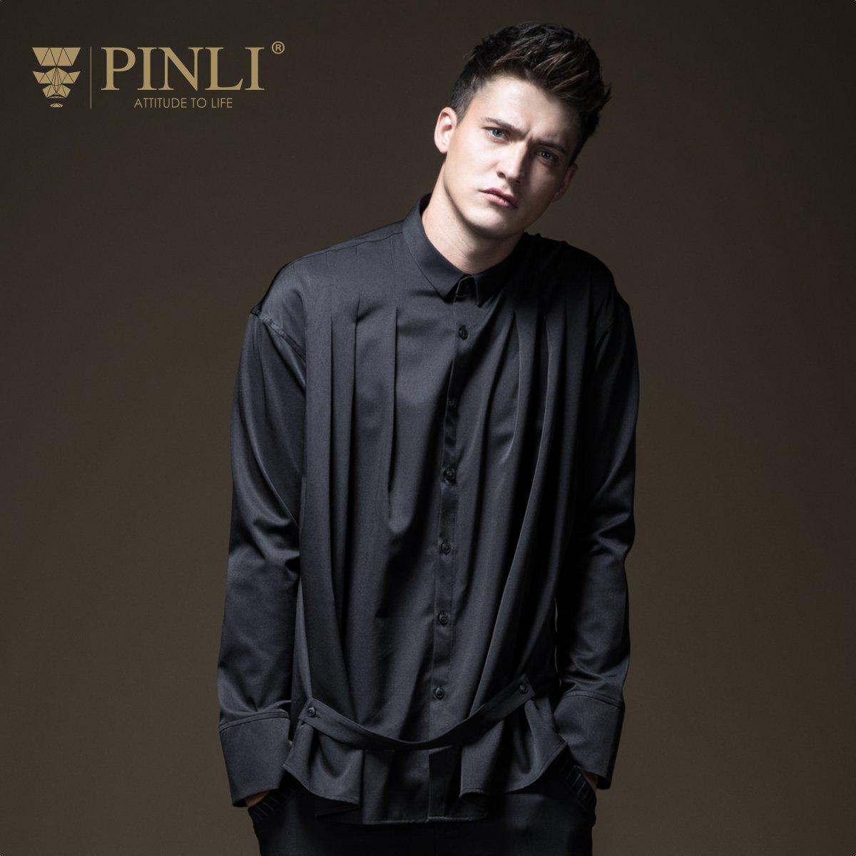Hawaiian Shirt Promotion Pinli Pin Li 2018 Autumn New Men's Bottoming, Pleated Pure Color Casual Long Sleeved Shirt B183113583