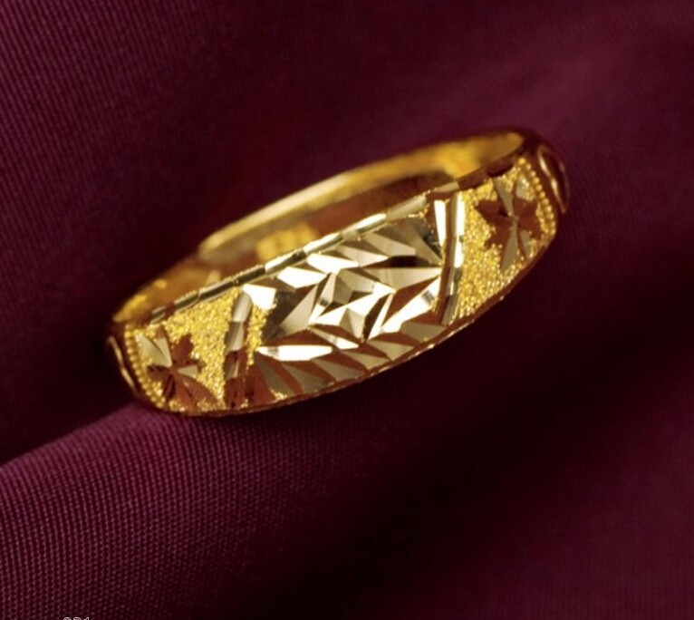 Pure 999 Solid 24K Yellow Gold Ring Wedding Lucky Ring/ 3.78g new pure au750 rose gold love ring lucky cute letter ring 1 13 1 23g hot sale